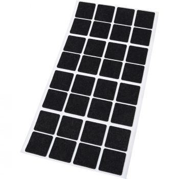 32 x Filzgleiter | 25x25 mm | Schwarz | quadratisch | 1.5 mm dünne selbstklebende Filz-Möbelgleiter in Top-Qualität