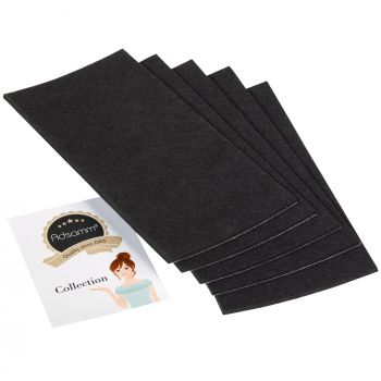 5 x selbstklebende Filzplatte   100x200 mm   Schwarz   rechteckig   3.5 mm starker Filzzuschnitt in Top-Qualität von Adsamm®