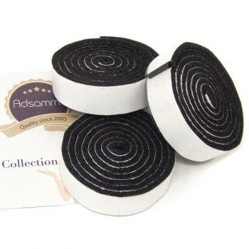 3 x selbstklebende Filzbänder zum Zuschneiden | 19x1000 mm | Schwarz | Rolle | 3.5 mm starker selbstklebender Filzzuschnitt in Top-Qualität