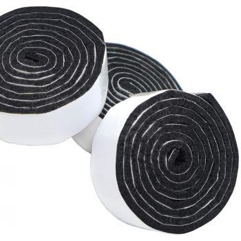 3 x selbstklebende Filzbänder zum Zuschneiden | 24x1000 mm | Schwarz | Rolle | 3.5 mm starker selbstklebender Filzzuschnitt in Top-Qualität