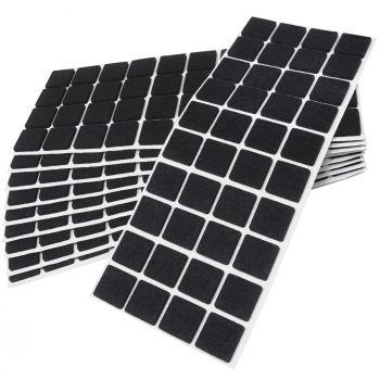 400 x Filzgleiter / 25x25 mm / Schwarz / quadratisch / 3.5 mm starke selbstklebende Filz-Möbelgleiter in Top-Qualität