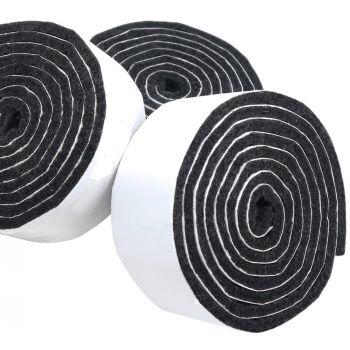 3 x selbstklebende Filzbänder zum Zuschneiden | 29x1000 mm | Schwarz | Rolle | 3.5 mm starker selbstklebender Filzzuschnitt in Top-Qualität