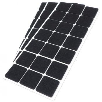 63 x Filzgleiter / 30x30 mm / Schwarz / quadratisch / 3.5 mm starke selbstklebende Filz-Möbelgleiter in Top-Qualität