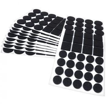 440 x Filzgleiter / Schwarz / verschiedene Größen / Ø 28 mm / Ø 20 mm / 25x25 mm / 3.5 mm starke selbstklebende Filz-Möbelgleiter in Top-Qualität