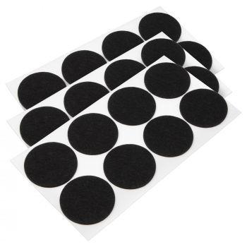 24 x Filzgleiter / Ø 60 mm / Schwarz / rund / 3.5 mm starke selbstklebende Filz-Möbelgleiter in Top-Qualität