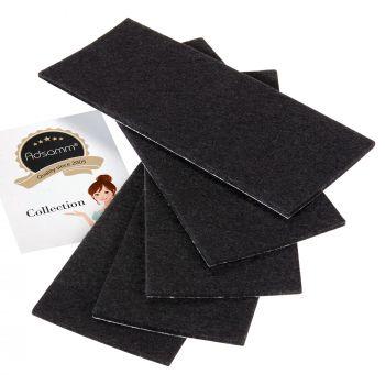 5 x selbstklebende Filzplatte   80x180 mm   Schwarz   rechteckig   3.5 mm starker Filzzuschnitt in Top-Qualität von Adsamm®