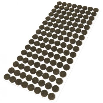 128 x Filzgleiter / Ø 12 mm / Braun / rund / 3.5 mm starke selbstklebende Filz-Möbelgleiter in Top-Qualität