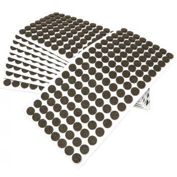 1280 x Filzgleiter / Ø 12 mm / Braun / rund / 3.5 mm starke selbstklebende Filz-Möbelgleiter in Top-Qualität