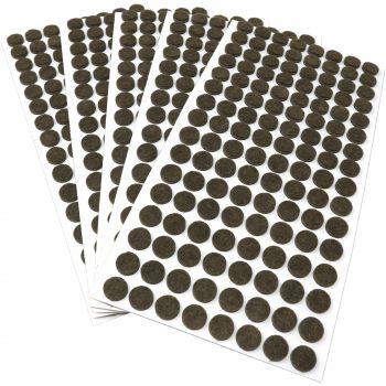 640 x Filzgleiter / Ø 12 mm / Braun / rund / 3.5 mm starke selbstklebende Filz-Möbelgleiter in Top-Qualität