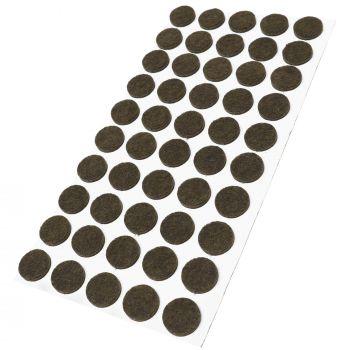 50 x Filzgleiter / Ø 16 mm / Braun / rund / 3.5 mm starke selbstklebende Filz-Möbelgleiter in Top-Qualität