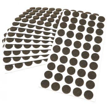 500 x Filzgleiter / Ø 16 mm / Braun / rund / 3.5 mm starke selbstklebende Filz-Möbelgleiter in Top-Qualität