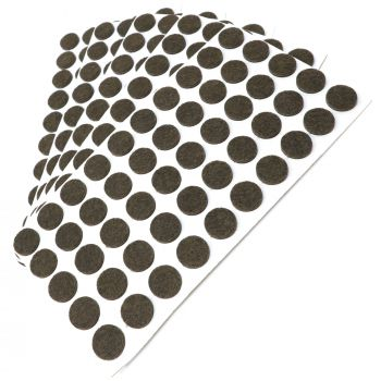 250 x Filzgleiter / Ø 16 mm / Braun / rund / 3.5 mm starke selbstklebende Filz-Möbelgleiter in Top-Qualität
