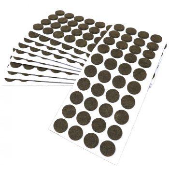 400 x Filzgleiter / Ø 18 mm / Braun / rund / 3.5 mm starke selbstklebende Filz-Möbelgleiter in Top-Qualität