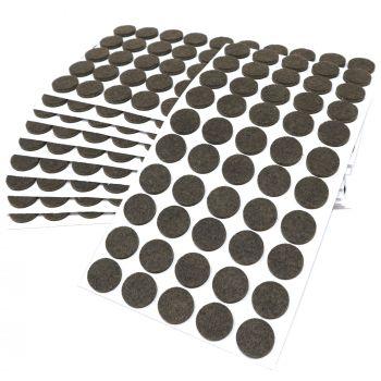 500 x Filzgleiter / Ø 20 mm / Braun / rund / 3.5 mm starke selbstklebende Filz-Möbelgleiter in Top-Qualität