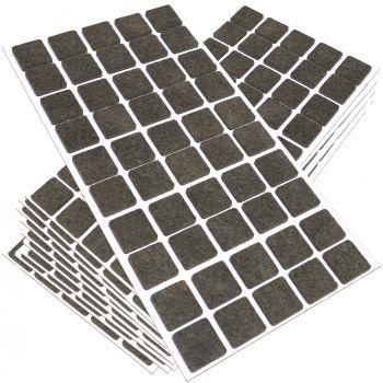 500 x Filzgleiter / 20x20 mm / Braun / quadratisch / 3.5 mm starke selbstklebende Filz-Möbelgleiter in Top-Qualität