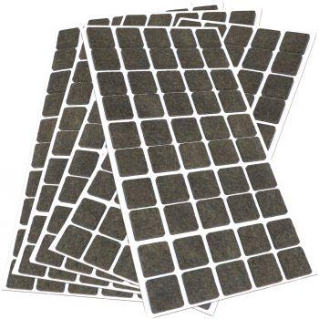 250 x Filzgleiter / 20x20 mm / Braun / quadratisch / 3.5 mm starke selbstklebende Filz-Möbelgleiter in Top-Qualität