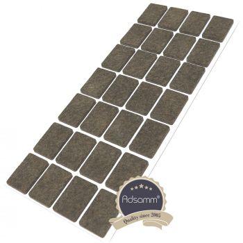 28 x Filzgleiter / 20x30 mm / Braun / rechteckig / 3.5 mm starke selbstklebende Filz-Möbelgleiter in Top-Qualität