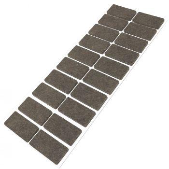 20 x Filzgleiter / 20x40 mm / Braun / rechteckig / 3.5 mm starke selbstklebende Filz-Möbelgleiter in Top-Qualität