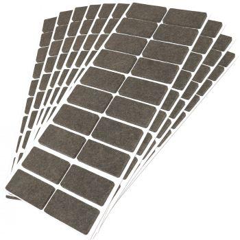 200 x Filzgleiter / 20x40 mm / Braun / rechteckig / 3.5 mm starke selbstklebende Filz-Möbelgleiter in Top-Qualität