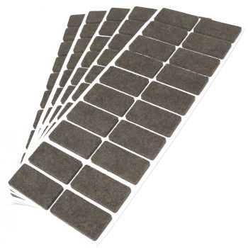100 x Filzgleiter / 20x40 mm / Braun / rechteckig / 3.5 mm starke selbstklebende Filz-Möbelgleiter in Top-Qualität