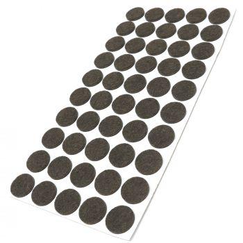 50 x Filzgleiter / Ø 22 mm / Braun / rund / 3.5 mm starke selbstklebende Filz-Möbelgleiter in Top-Qualität