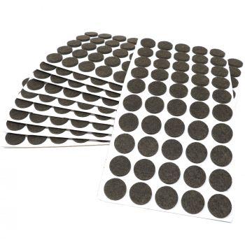 500 x Filzgleiter / Ø 22 mm / Braun / rund / 3.5 mm starke selbstklebende Filz-Möbelgleiter in Top-Qualität