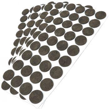 180 x Filzgleiter / Ø 24 mm / Braun / rund / 3.5 mm starke selbstklebende Filz-Möbelgleiter in Top-Qualität