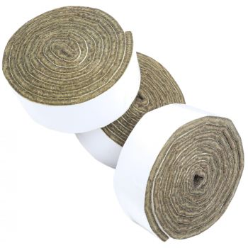 3 x selbstklebende Filzbänder zum Zuschneiden | 24x1000 mm | Braun | Rolle | 3.5 mm starker selbstklebender Filzzuschnitt in Top-Qualität