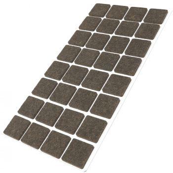 32 x Filzgleiter / 25x25 mm / Braun / quadratisch / 3.5 mm starke selbstklebende Filz-Möbelgleiter in Top-Qualität