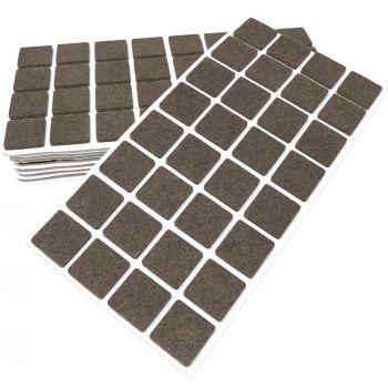320 x Filzgleiter / 25x25 mm / Braun / quadratisch / 3.5 mm starke selbstklebende Filz-Möbelgleiter in Top-Qualität