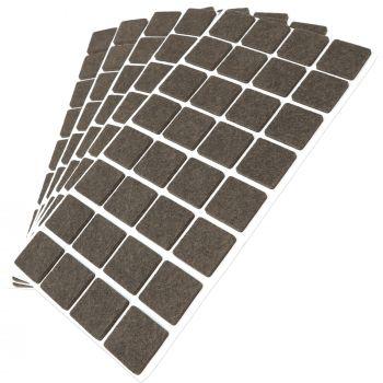 160 x Filzgleiter / 25x25 mm / Braun / quadratisch / 3.5 mm starke selbstklebende Filz-Möbelgleiter in Top-Qualität