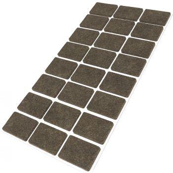 24 x Filzgleiter / 25x35 mm / Braun / rechteckig / 3.5 mm starke selbstklebende Filz-Möbelgleiter in Top-Qualität