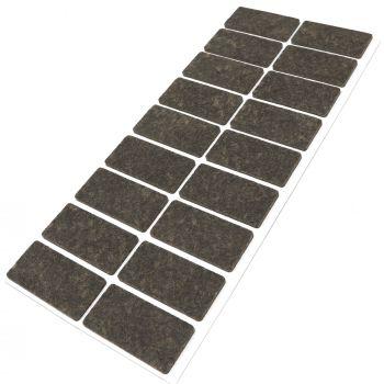 18 x Filzgleiter / 25x50 mm / Braun / rechteckig / 3.5 mm starke selbstklebende Filz-Möbelgleiter in Top-Qualität