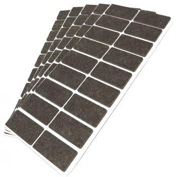 90 x Filzgleiter / 25x50 mm / Braun / rechteckig / 3.5 mm starke selbstklebende Filz-Möbelgleiter in Top-Qualität
