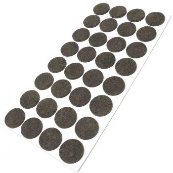 32 x Filzgleiter / Ø 26 mm / Braun / rund / 3.5 mm starke selbstklebende Filz-Möbelgleiter in Top-Qualität