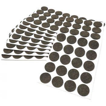 320 x Filzgleiter / Ø 26 mm / Braun / rund / 3.5 mm starke selbstklebende Filz-Möbelgleiter in Top-Qualität