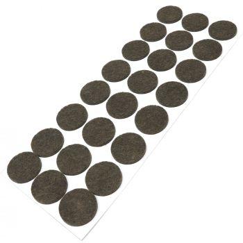 24 x Filzgleiter / Ø 28 mm / Braun / rund / 3.5 mm starke selbstklebende Filz-Möbelgleiter in Top-Qualität