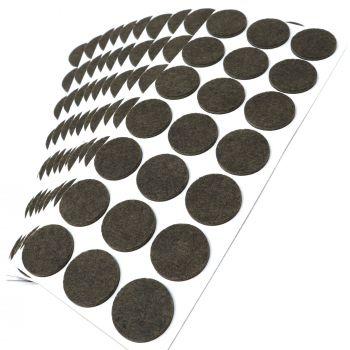 210 x Filzgleiter / Ø 30 mm / Braun / rund / 3.5 mm starke selbstklebende Filz-Möbelgleiter in Top-Qualität