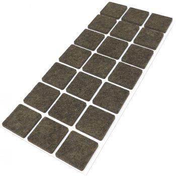 21 x Filzgleiter / 30x30 mm / Braun / quadratisch / 3.5 mm starke selbstklebende Filz-Möbelgleiter in Top-Qualität