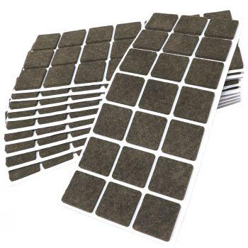 210 x Filzgleiter / 30x30 mm / Braun / quadratisch / 3.5 mm starke selbstklebende Filz-Möbelgleiter in Top-Qualität