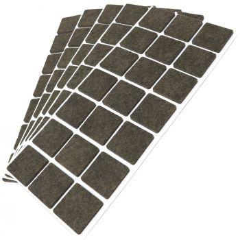 105 x Filzgleiter / 30x30 mm / Braun / quadratisch / 3.5 mm starke selbstklebende Filz-Möbelgleiter in Top-Qualität