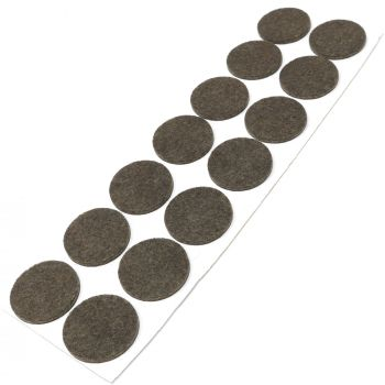 14 x Filzgleiter / Ø 32 mm / Braun / rund / 3.5 mm starke selbstklebende Filz-Möbelgleiter in Top-Qualität
