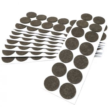 140 x Filzgleiter / Ø 32 mm / Braun / rund / 3.5 mm starke selbstklebende Filz-Möbelgleiter in Top-Qualität