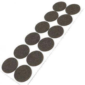 12 x Filzgleiter / Ø 34 mm / Braun / rund / 3.5 mm starke selbstklebende Filz-Möbelgleiter in Top-Qualität