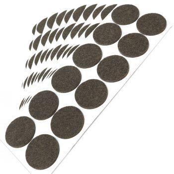120 x Filzgleiter / Ø 34 mm / Braun / rund / 3.5 mm starke selbstklebende Filz-Möbelgleiter in Top-Qualität
