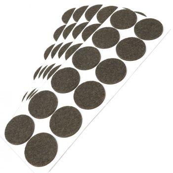 60 x Filzgleiter / Ø 34 mm / Braun / rund / 3.5 mm starke selbstklebende Filz-Möbelgleiter in Top-Qualität