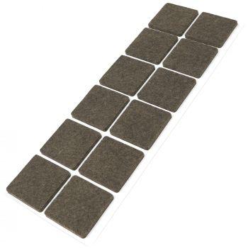 12 x Filzgleiter / 35x35 mm / Braun / quadratisch / 3.5 mm starke selbstklebende Filz-Möbelgleiter in Top-Qualität