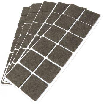 60 x Filzgleiter / 35x35 mm / Braun / quadratisch / 3.5 mm starke selbstklebende Filz-Möbelgleiter in Top-Qualität
