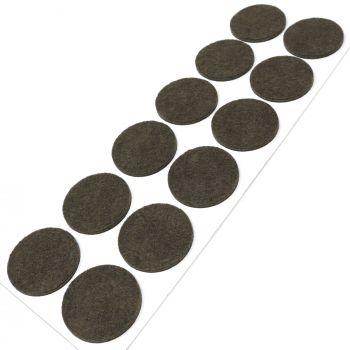 12 x Filzgleiter / Ø 40 mm / Braun / rund / 3.5 mm starke selbstklebende Filz-Möbelgleiter in Top-Qualität