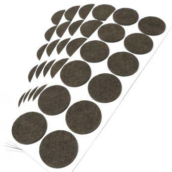 60 x Filzgleiter / Ø 40 mm / Braun / rund / 3.5 mm starke selbstklebende Filz-Möbelgleiter in Top-Qualität